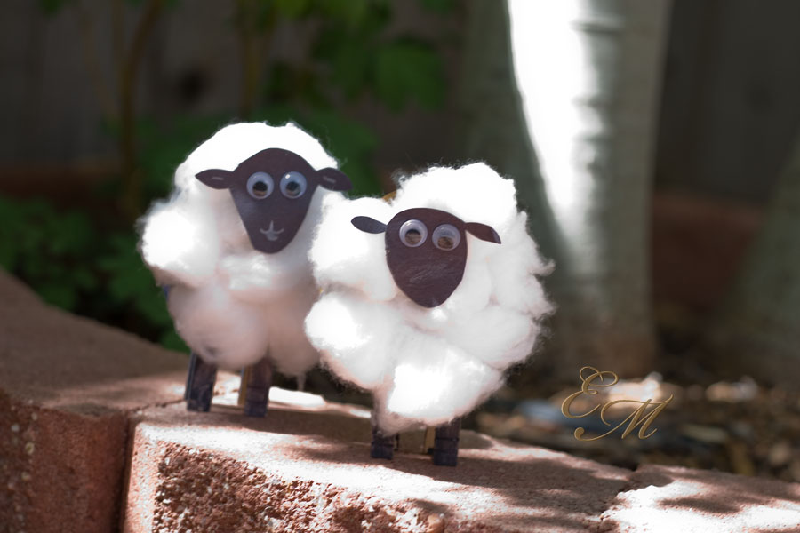 Cotton ball sheep toddler craft.