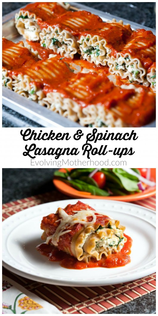 Chicken and Spinach Lasagna Roll-ups // evolvingmotherhood.com