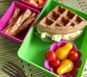 egg salad waffle sandwich