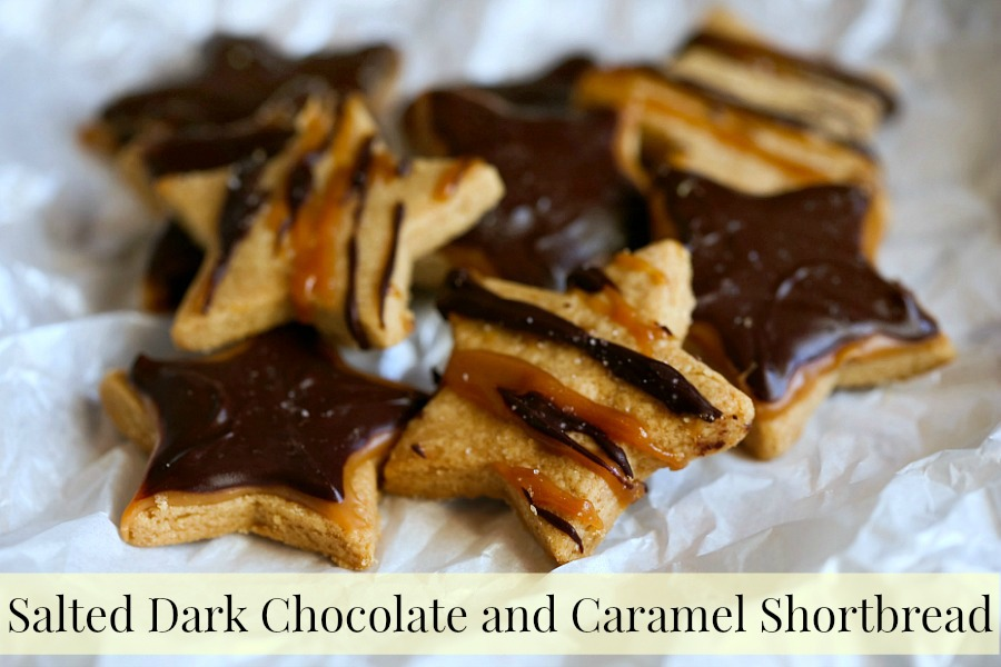 Salted Dark Chocolate and Caramel Shortbread Cookies