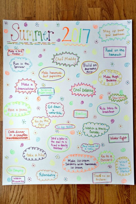 how to make a summer bucket list for kids