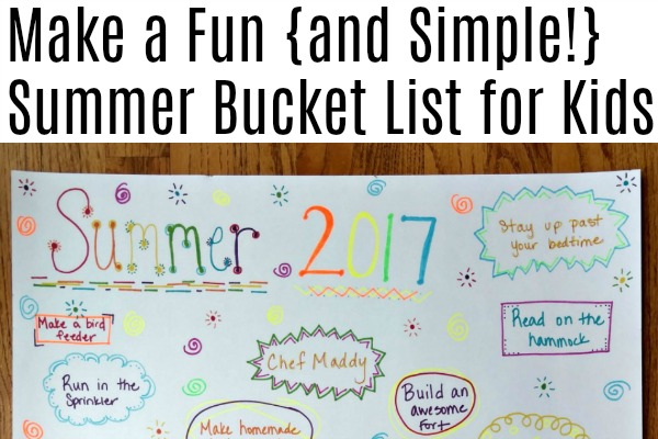 Making a summer bucket list with kids